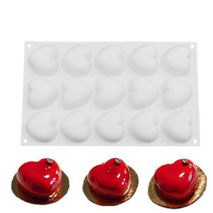 Silicone Romantics 15 en forme de coeur moule Mini gâteau pour le chocolat Desserts Pudding cuisson décoration de gâteaux outil Moules Pan T200524