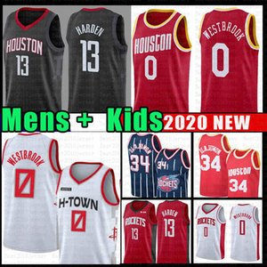 Russell Westbrook 0 James Harden 13 Basketball Jersey Rocket Hakeem Olajuwon 34 2019 nouvelle NCAA Youth Men enfants