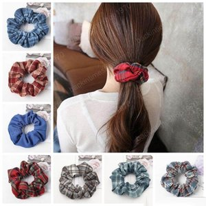 Scrunchies hairbands Plaid Mulheres Cabelo Ties Ropes sólidas bandas meninas rabo de cavalo titulares Scrunchy Cabelo Acessórios 32 Designs