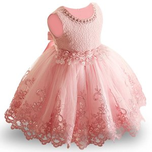 Flower Toddler Baby Girl Infant Princess Dress Dress Baby Girl Dress da sposa Pizzo Tutu Kids Party Vestidos per il 1 ° compleanno Y18102007