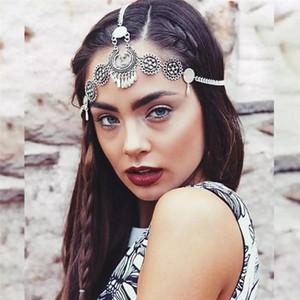Цепь 1PC волос женщин Bohemian этнического стиль Vintage Резных Water Drop кисточка Chain Headdress Dropship # 0918