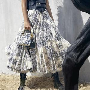 Brand Designer Women Vintage Print Skirts 2019 Summer Autumn Fashion High Elastic Waist Long Party Skirts Streetwear