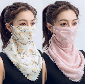 US Stock Women Scarf Face Mask 13 Styles Silk Chiffon Handkerchief Outdoor Windproof Half Face Dust-proof Sunshade Designer Masks DHA242
