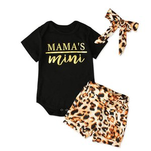 Ins 2020 Summer girls outfits leopard print baby girl clothes short sleeve rompers+shorts+bows headband 3pcs set Newborn Outfits B756