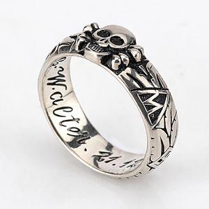 925 стерлингового серебро Mens кольцо черепа Красивого Vintage Skeleton Кольцо Anitque серебра для мужчин Панк Hiphop Байкер ювелирных изделий