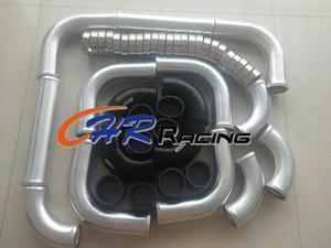 "2.25"" 57 milímetros de alumínio Universal Intercooler Turbo tubulação mangueiras Kit + preto"