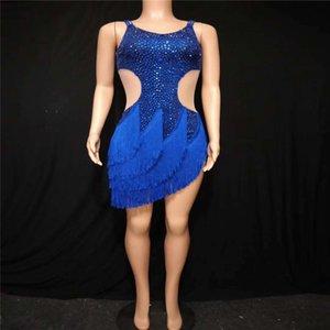 V70 Sexy ballroom dance stage costumes blue rhinestones latin crystal dress perform wear mesh drill short skirt singer wear club party wears