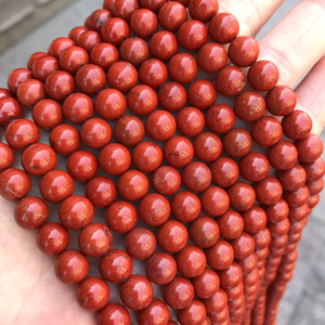 4/6 / 8/10 / 12MM حقيقي الطبيعية الأحمر جاسبر ستون الخرز جولة فضفاض RED STONE الخرز لصنع المجوهرات DIY سوار ستراند 15 ''