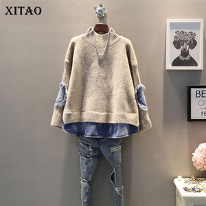 Xitao Cowboy Splice Mulheres Sweater Falso Two Pieces Lazer Plus Size Knitwear coreano estilo pulôver Mulheres gola Tops WLD2657
