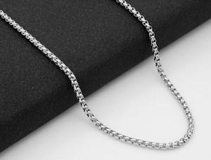 316 Edelstahl Halskette Quadrat Perlenkette Titan Stahl Schmuck Kette 3MM Raue Kette WL489