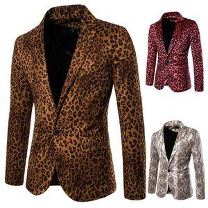 Para hombre del leopardo adelgazan las chaquetas de piel de serpiente de impresión trajes de la etapa Blazers Casual Male Un botón de la chaqueta de las tapas
