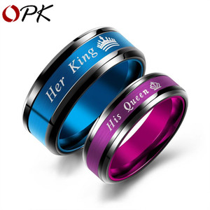 Creative accessories her King his Queen couple ring European and American Titanium steel ring