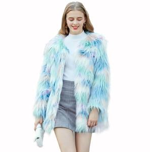 Cardigan Otoño de imitación chaqueta de cuero para mujer de visón helado azul abrigo de cuero de piel las mujeres chaquetas delgadas jaqueta de couro moda