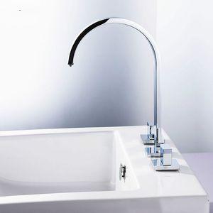 High Quality Double Handle Bathroom Faucet Brass Widespread Deck Mount Sink Mixer Tap Manufacturer Retail