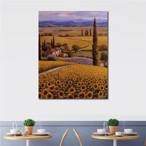 Schöne Ölgemälde Hand bemalte Leinwand Kunst Sunflower Field Malerei Bild für Wanddekor