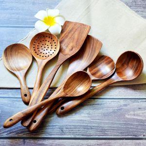Spatule en bois Teakwood antiadhésive Spatules longue poignée cuillère repas cuillère naturel Passoire outil de cuisine en bois Vaisselle nouvelle GGA2917