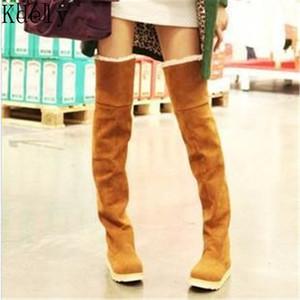 2019 Schenkel-hohe Stiefel Winterschuhe für Damen Frauen warm halten über das Knie-flache Strecke Sexy Mode Schuhe New Reiten