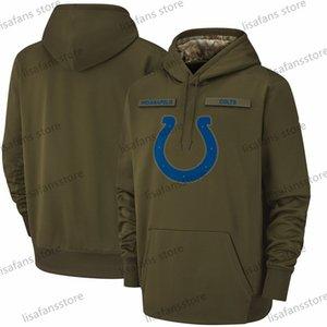 2018 Pullover Felpe Uomini Indianapolis Città Salute to servizio con cappuccio Colts Sideline Therma prestazioni del pullover Olive Size S-XXX