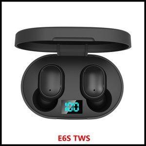 Mini TWS sem fio Earbuds E6s TWS Headphone som de alta fidelidade Fone de ouvido Bluetooth 5.0 com dupla Mic Display LED Fones emparelhamento automático Headsets