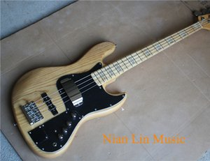 4-String Electric Bass with Natural wood Color Ash wood Body,Black Pickguard,Maple Fingerboard with White Abalone Fret Marks Inlay