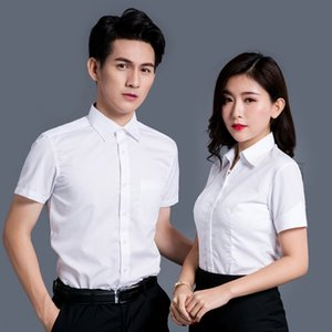 Men Women summer long sleeves striped shirt white light blue business shirt batch