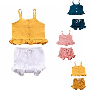Baby Girl Clothes Girls Suspender Tops Shorts 2pcs Sets Ruffle Children Outfits Cotton Toddler Suits Summer Baby Clothing 10 Colors DW5495