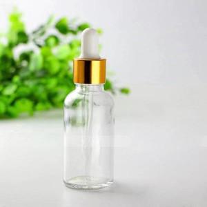 Trasporto veloce 30ml Cancella bottiglie di olio essenziale contagocce con Glass Eye Dropper e nero argento di sicurezza Cap Gold Bottiglia di vetro di imballaggio