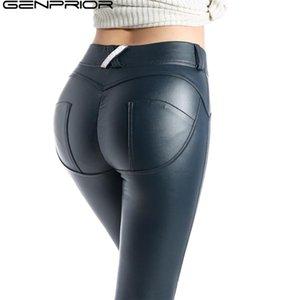 GENPRIOR Peach Push Up Hip Skinny Leggings Leather Pants Women PU High Elastic Fitness Legging Exercise Trousers Pencil Pants