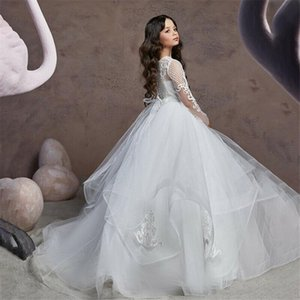 Elegant White Flower Girl Dress Long Sleeve Lace Applique Wedding Fluffy Tulle Ball Gown Holy Communion Pageant Party Dresses