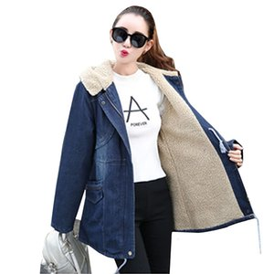 Winter neue frauen casual mäntel lange windjacke outwear lammhaar dicke warme denim mantel mit kapuze 2019 frauen winter parkas jacken