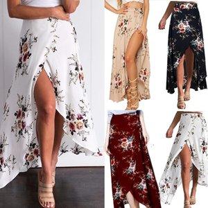 Hohe Split Frauen Sommer Röcke Blumen Nahe Taille Meer Urlaub Damen Designer Röcke Unregelmäßige Sommer Big Swing Female Grund Kleider