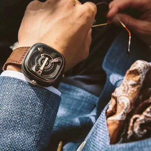 2020 Bestnote neue Art und Weise Mens 47mm Skeleton SFM202 Uhren Echtes Leder Band Seven Fiday Mann-Armbanduhr-Geschenk Schweizer Orologi di Lusso