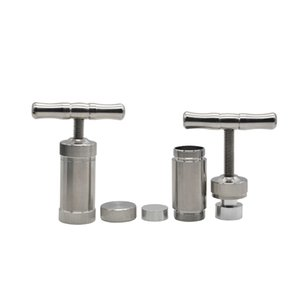 Aluminium en forme de T en métal dur Pollen Presse Grinder Compresseur Presser Spice Broyeur Grinder main Muller Argent