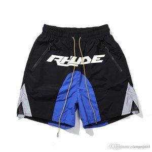 2020 yeni yüksek sokak Rhude yansıtıcı dikiş logosu baskılı şort erkekler ve kadınlar gündelik pantolon S-XL eşleşen gevşek rengi