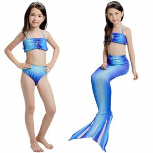 Girls Anime Cartoon Suits 3PCS Set Mermaid Tail Biniki Set Swimmable Swimming Cosplay Costume