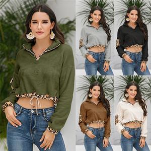 Осень Зима женщин Дизайнер Hoodies Solid Color Leopard печатных Leopard выдалбливают Sweatershirts Повседневный женской одежды