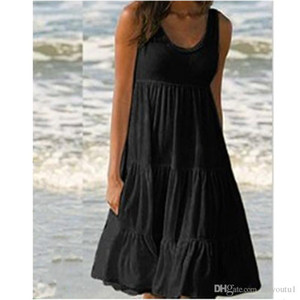 2020 femmes Spaghetti Strap robe d'été sexy o Neck Brochage Big Party Suspenders swing robe noire Casual Robe de plage blanc
