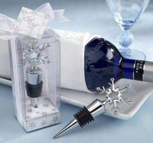 Bottiglia Snowflake Wine Stopper favorisce i regali Red Wine bagagli Twist della protezione della spina di nozze per feste il regalo di natale favore FFA3103