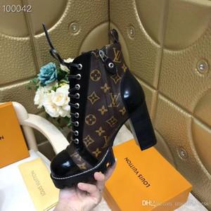 2020 Moda de invierno Botas botines de cuero para las mujeres y pesados suelas antideslizantes zapatos de tacón alto botas de señora Martin US10 alta calidad