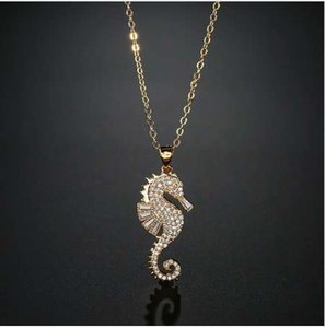 NEWBUY High Quality Copper Seahorse Pendant Necklace For Elegant Women Clear Cubic Zirconia Inlay Female Party Jewelry