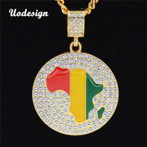 الذهب جامايكا أفريقيا خريطة القارة الأفريقية جولة قلادة حبل سلسلة قلادة الهيب هوب مجوهرات N702