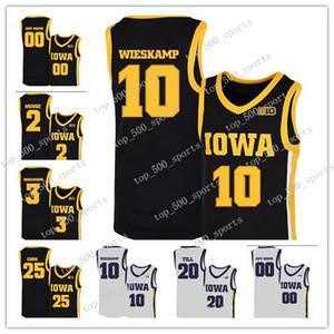 Custom 2020 NCAA Iowa Hawkeyes Jersey 10 Joe Wieskamp 25 Tyler Cook 55 Luka Garza 5 CJ Fredrick 15 Kriener 30 Jersey Basketball