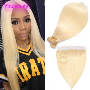 Бразильские наращивания волос девственницы 613 # блондинка шелковистая прямая волна тела человеческие волосы пучки с 13x4 кружева лобные 4 шт. / Лот прямые волосы