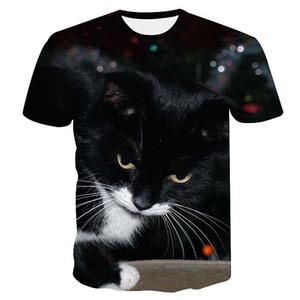 Camiseta dressing2020 Marca 3D Ment-shirt gato engraçado Neve impressos camisetas Masculino 2020 Summer manga curta Anime Tops T Moda Mens Clothing