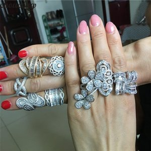 Joyería choucong 8 estilos Declaración Promise Ring 5A Zircon 925 anillos de plata esterlina anillo de matrimonio únicos para las mujeres del partido