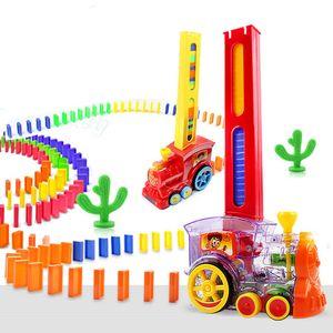 Motorizado Domino Car Train kit de construção Blocos DIY Toy Elevador Springboard Ponte Set Dominoes automático tijolo Brinquedos T200413