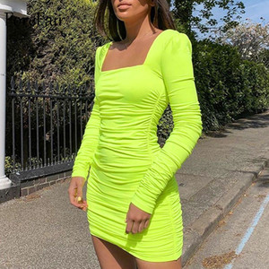 Forefair Square Neck Sexy Bodycon Dress 2020 Autumn Winter Backless Ruched Elegant Long Sleeve Neon Green White Mini Dress Women