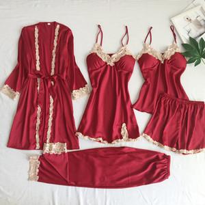 Yaz Seksi Kadınlar 5-piece Pijama Klasik Katı Desen Lady Pijama Set Trendy Yumuşak Buz İpek Kadın Ev Giyim