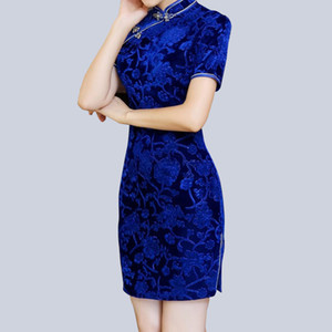 New Velour Cheongsams Traditional Chinese Dress Women Autumn Winter fashion Vintage Slim Qipao dress 606