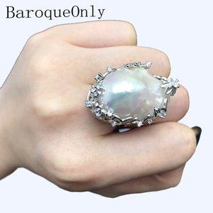 BaroqueOnly натуральный пресноводный жемчуг 925 Серебряное кольцо огромный размер глянцевое Барокко Нерегулярное Pearl Ring, женщины Подарки RA LY191226